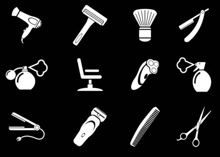 shaving brush: Barbershop symbols Illustration