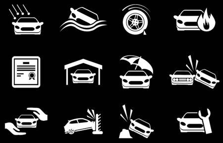Car Insurance Icons Vector