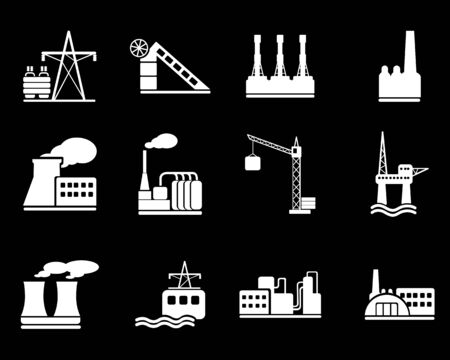 coal plant: Factory and Industry Symbols Illustration