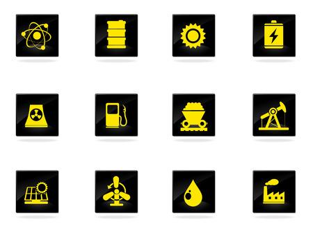 oliedrum: Ecologie Iconen Stock Illustratie