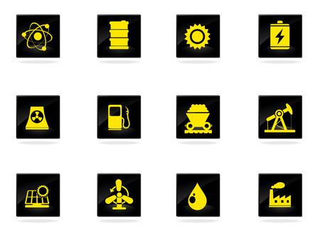 hydroelectric power station: Ecology Icons Illustration