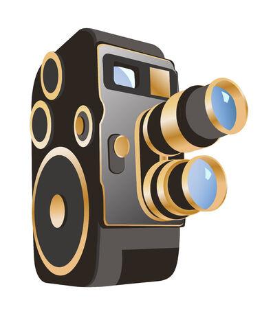 control of body movement: vector illustranion mechanical movie camera Illustration