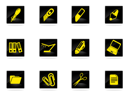 soft tip pen: Office equipment icons