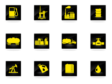 Oil and petrol industry objects icons  イラスト・ベクター素材