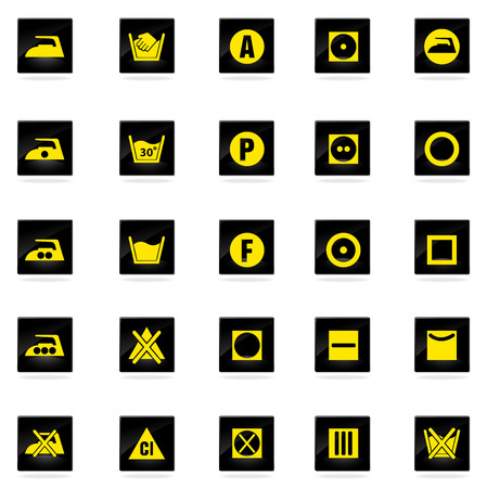 Laundry Sign Silhouette Icons Vector