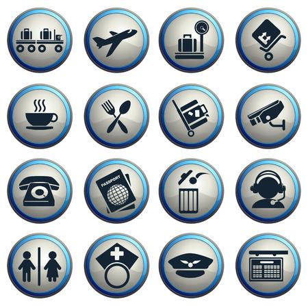 Luchthaven iconen Stock Illustratie
