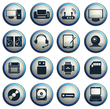 information medium: Computer equipment simple vector icons