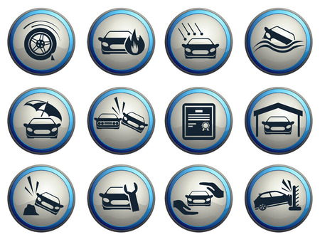 Car Insurance Icons Vectores