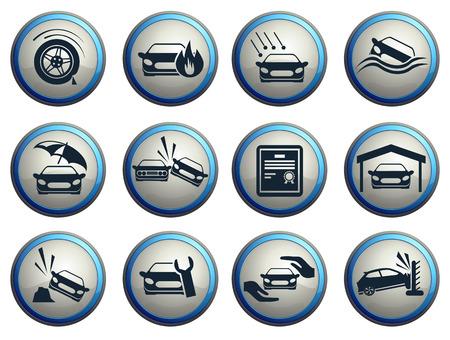 Car Insurance Icons Illustration