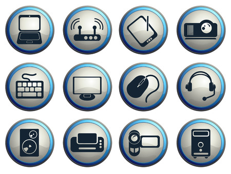 computer equipment: Computer equipment simple vector icons