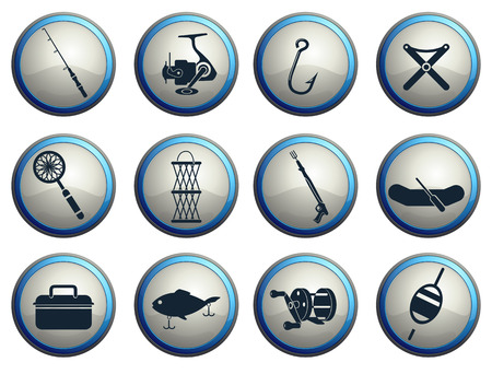 commercial painting: Fishing icon set