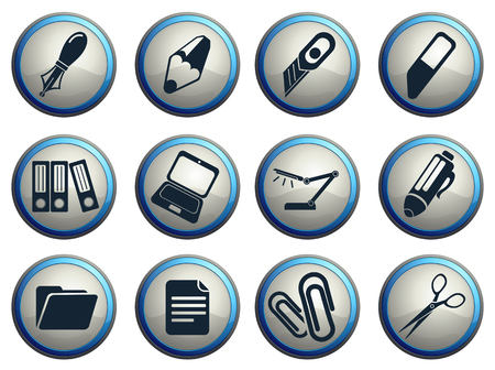 box cutter: Vector iconos de oficina Vectores