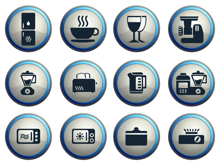 meat  grinder: Kitchen Utensils Icon Set Illustration
