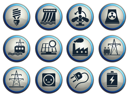 electricity substation: Icon Set, Energy and Industry