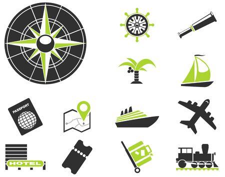 Turismo y viajes iconos Vectores