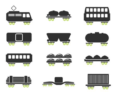 storage tank: Rail-freight traffic icons Illustration