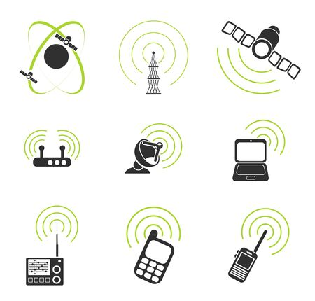 communications equipment: Radio signal simple vector icons