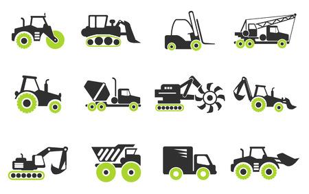 Symbolen van Bouwmachines Stock Illustratie