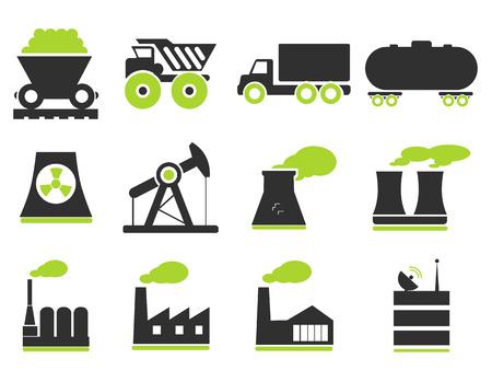 Fabriek en Industrie Symbolen Stock Illustratie