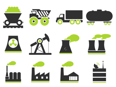 silhouette industrial factory: Factory and Industry Symbols Illustration
