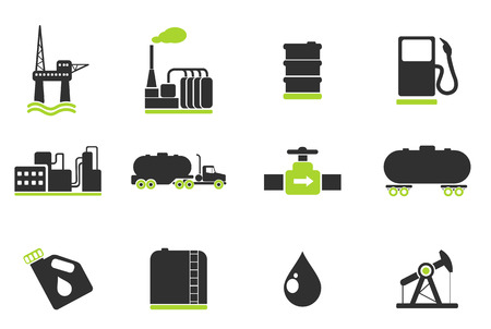 oil industry: Oil and petrol industry objects icons Illustration