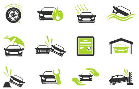 Car Insurance Icons Vettoriali