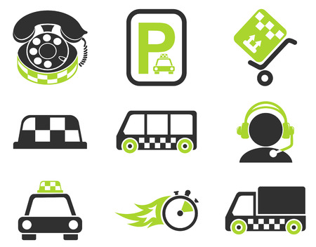 parking disk: taxi services icon set Illustration