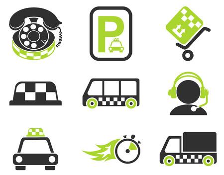 handsfree telephone: taxi services icon set Illustration