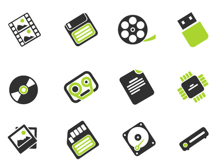 Information carriers icons Illustration