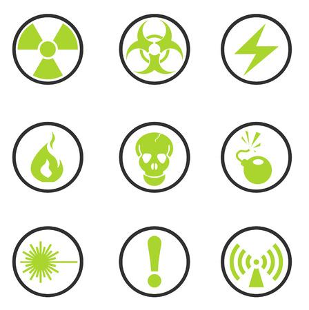 vector skull danger sign: Hazard Sign Icons