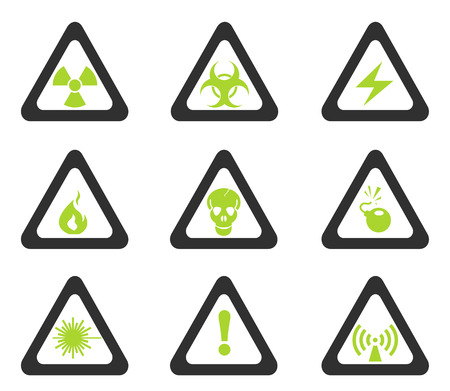 vector skull danger sign: Triangular Hazard Sign Icons Illustration