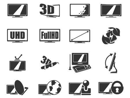 backlighting: Vector TV features and specifications icon set