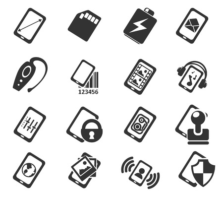 Mobile or cell phone, smartphone,  specifications and functions icons set Ilustrace