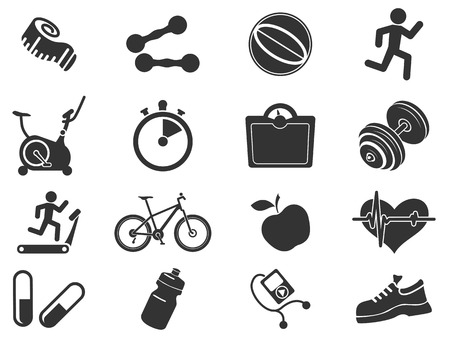fat to thin: Set of  icons on fitness.Vector illustration.