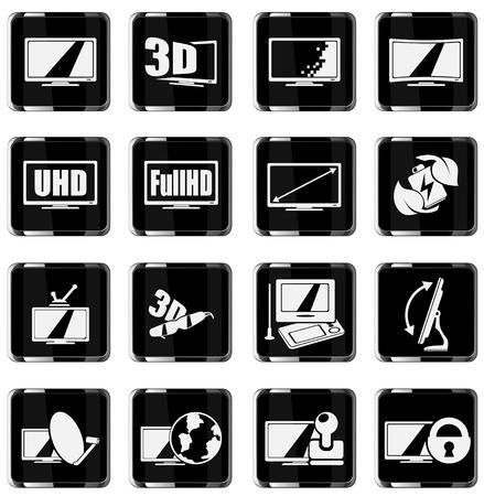 specifiche: Vector TV caratteristiche e specifiche icon set