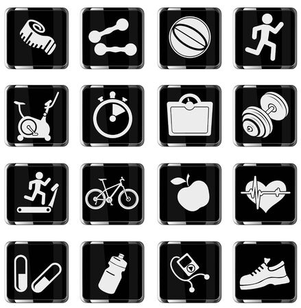 trainer: Set of  icons on fitness. simply symbol for web icons