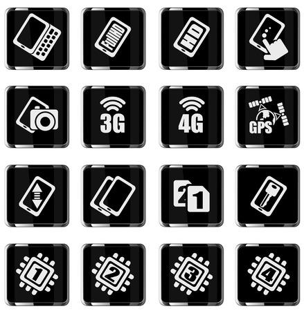 specifiche: Telefono cellulare o cellulare, smartphone, impostare specifiche e le funzioni icone Vettoriali
