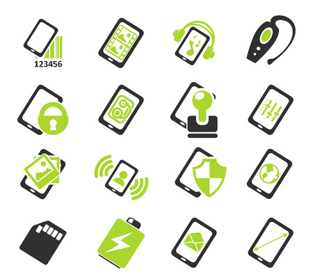 music symbol: Mobile or cell phone, smartphone,  specifications and functions icons set Illustration