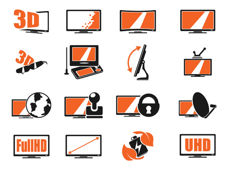 iptv: Vector TV features and specifications icon set