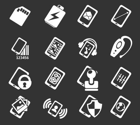 smartphone: Mobile or cell phone, smartphone,  specifications and functions icons set Illustration