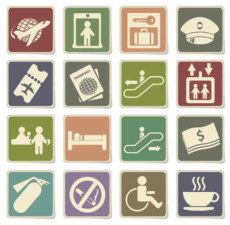 fire extinguisher label: Airport icons in eps 10 Illustration