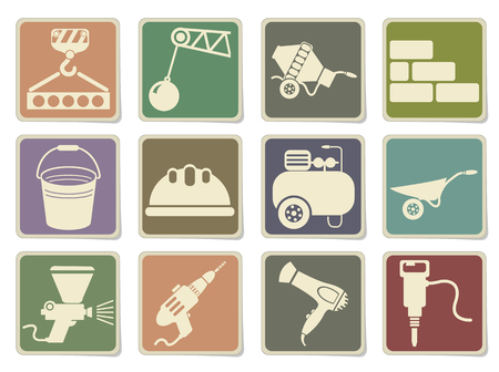 building materials: Construction, building materials, construction equipment icons