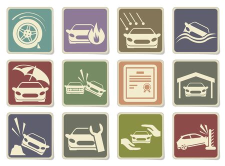 car tire: Car Insurance Icons in eps 10