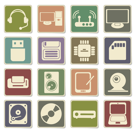 using voice: Computer equipment simple vector icons