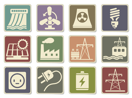 electricity substation: Icon Set, Energy and Industry in eps 10