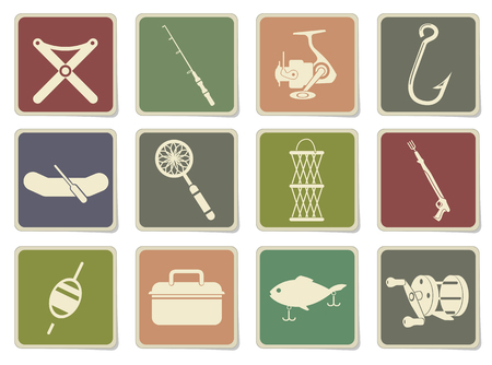 commercial painting: Fishing icon set in eps 10 Illustration