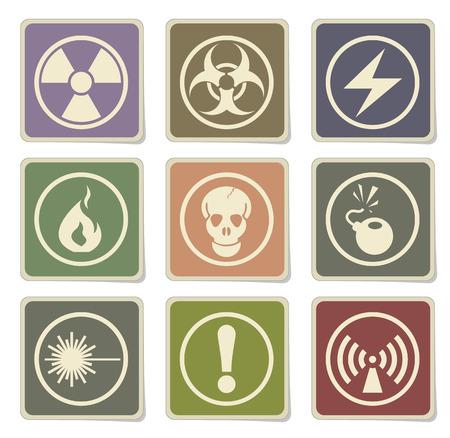 vector skull danger sign: Hazard Sign Icon Set Illustration