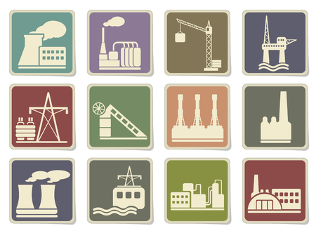 industrial machinery: Factory and Industry Symbols in eps 10 Illustration