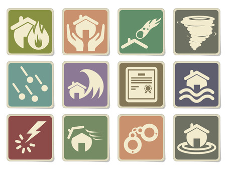 hailstone: Home Insurance Icons in eps 10