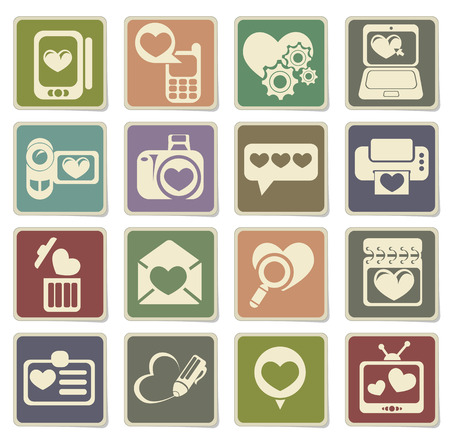 messages: love messages icon set in eps 10 Illustration
